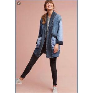 Anthro Pilcro Jadira Denim Kimono Jacket Sz M